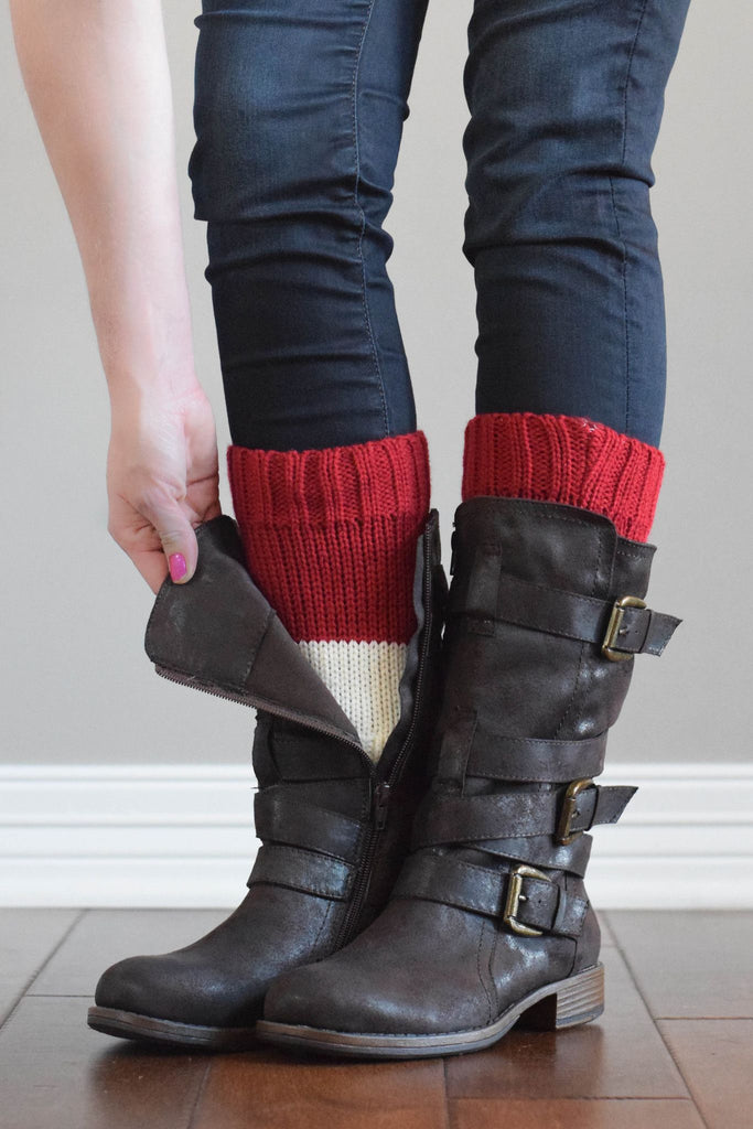 Classic Red and Ivory Reversible Boot Cuffs