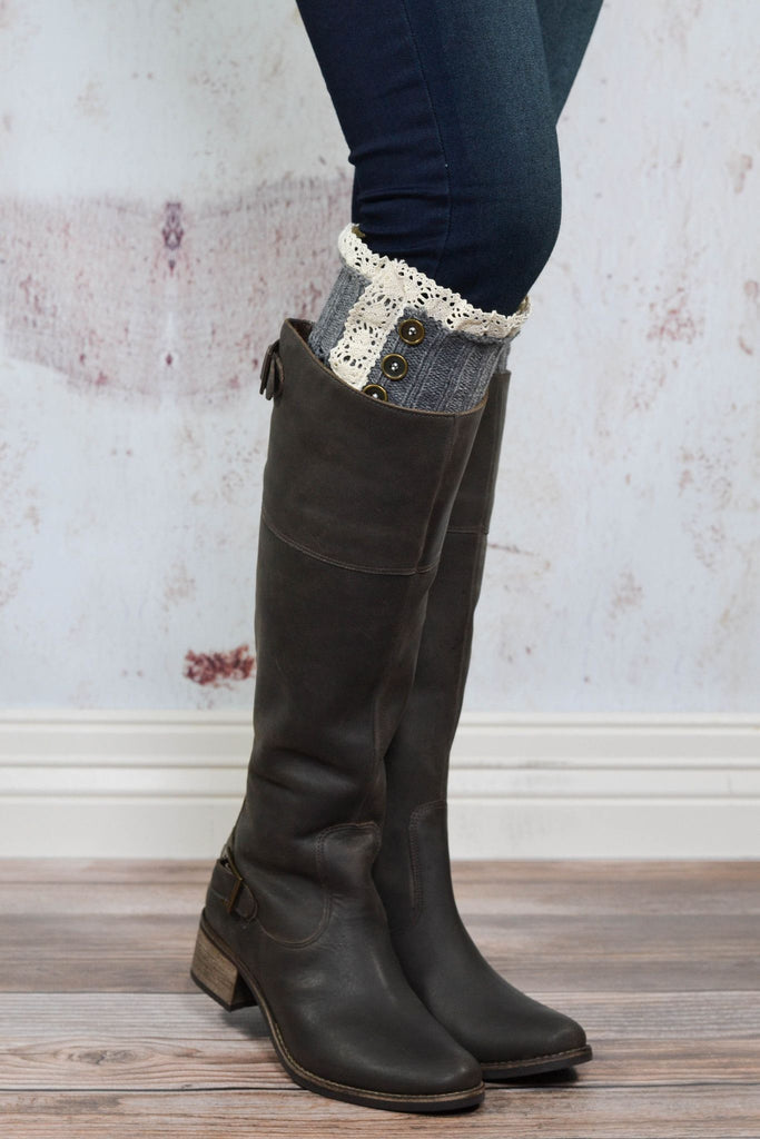 Grey Knit with Crochet Lace Boot Cuffs