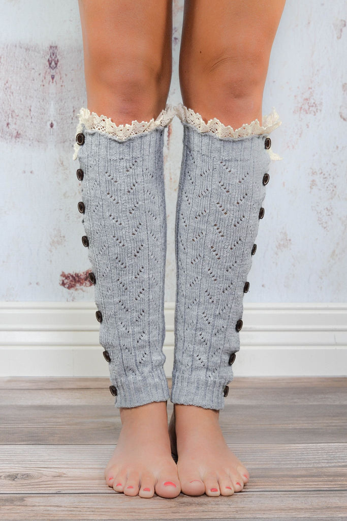 Light Grey Lace Button Down Leg Warmers