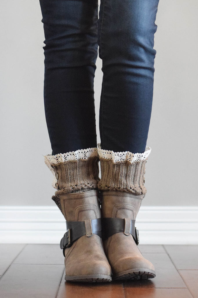 Mocha Knit with Crochet Lace Boot Cuffs