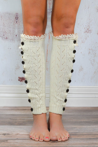 Ivory Lace Button Down Leg Warmers