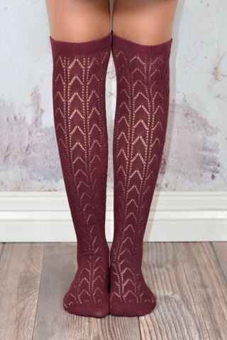 Cabernet Thigh High Chevron Patterned Boot Socks