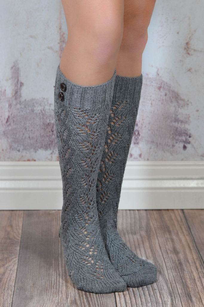 Grey Knit Boot Sock with Buttons