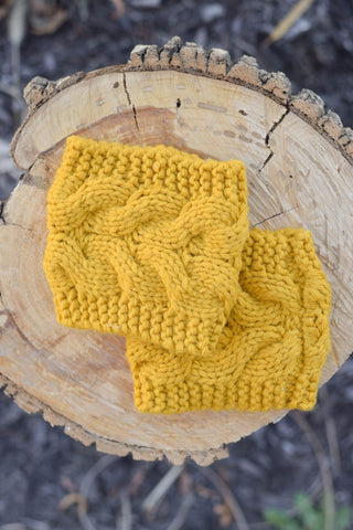 Mustard Cable Knit Sweater Boot Cuffs
