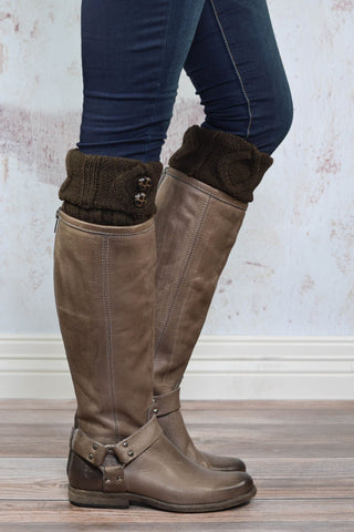 Coffee Two Button Boot Cuffs