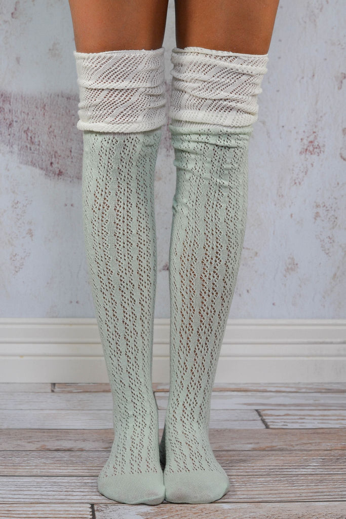 Mint Slouchy Two Toned Boot Socks