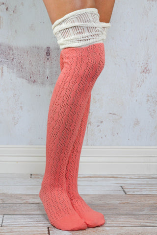 Coral Slouchy Two Toned Boot Socks