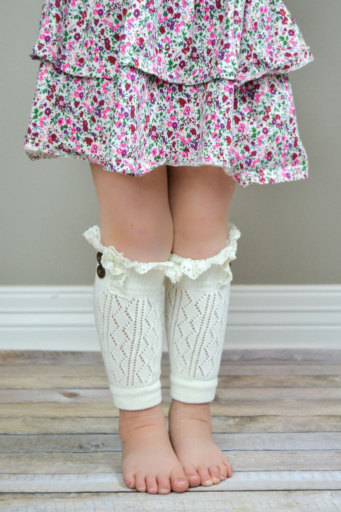 Kids Ivory Leg Warmers with Crochet Top