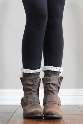 Dark Grey Boot Cuffs with Crochet Top