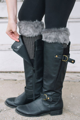 Alaska-Inspired Dark Grey Boot Cuffs with Fur Topper