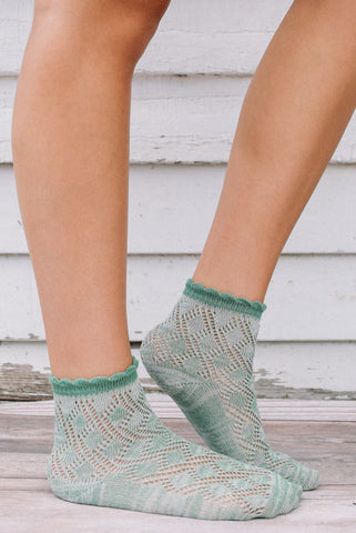 Green Meadow Knit Anklet Socks