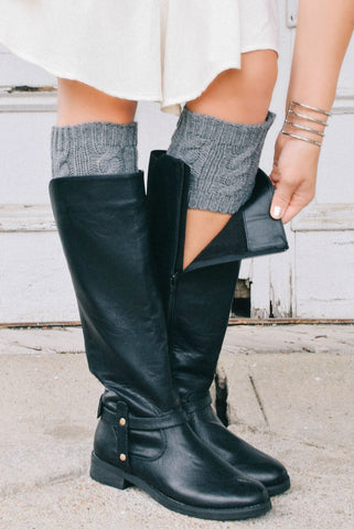 Grey Cable Knit Boot Cuffs