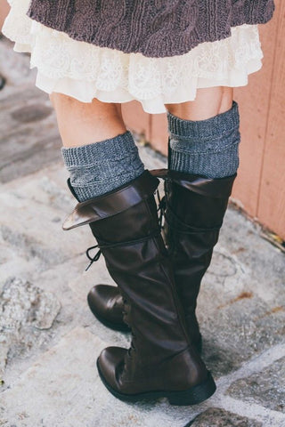 Grey Cable Ribbed Knit Boot Cuffs