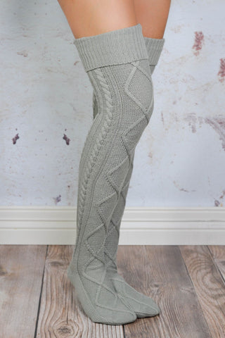 Grey Diamond Cable Knit Boot Socks