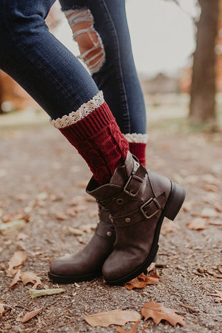 Burgundy Knitted Boot Cuffs With Lace Trim