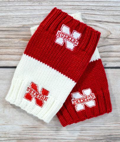 GO HUSKERS! Red & White Reversible Boot Cuffs [LIMITED EDITION]