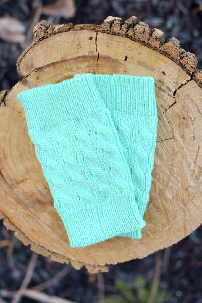 Mint Cable Knit Boot Cuffs