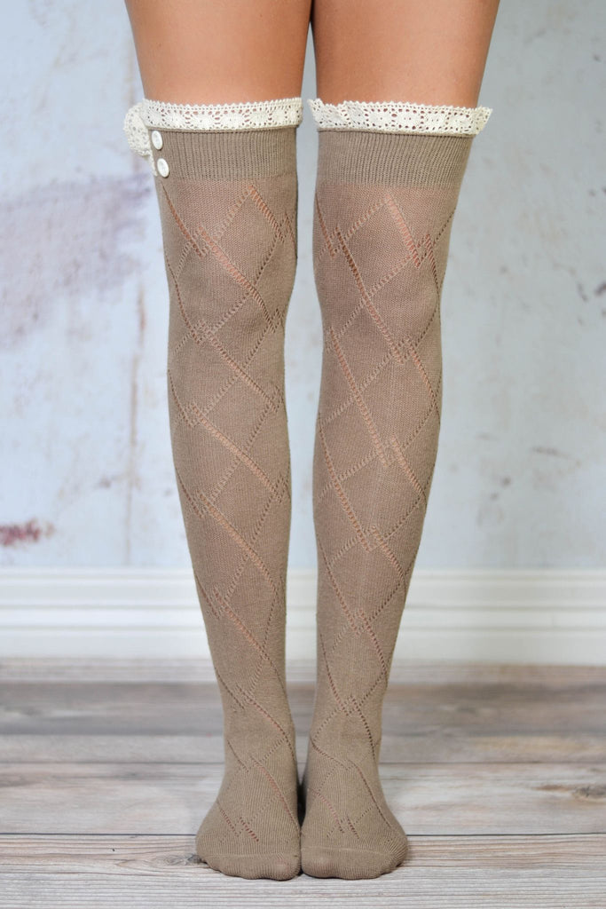 Mocha Thigh High Boot Socks with Lace Trim