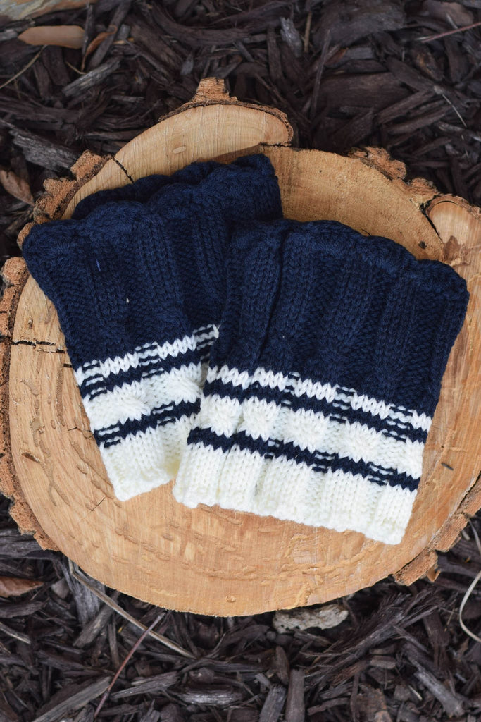 Nautical Navy and Cream Scalloped Stripe Boot Cuffs