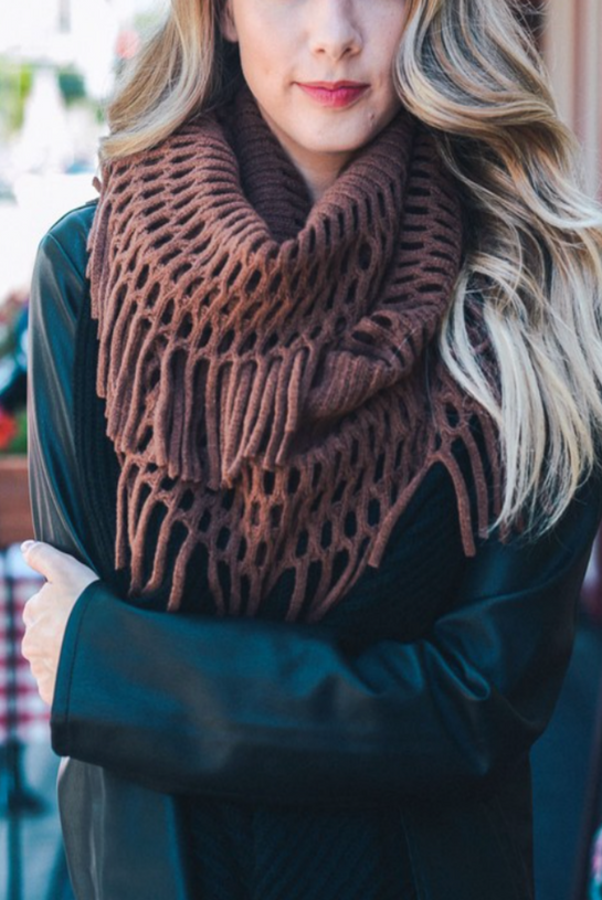 Chocolate Chenille Tassel Infinity Scarf
