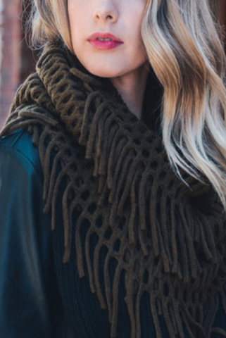 Olive Chenille Tassel Infinity Scarf