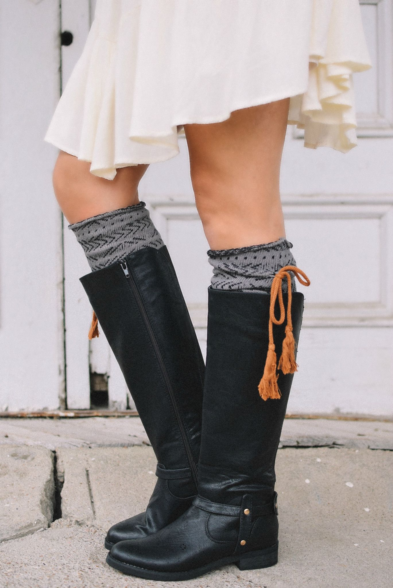 f2ada84e7 ... Estes Park Rust   Charcoal Knee-High Boot Socks with Tassel ...