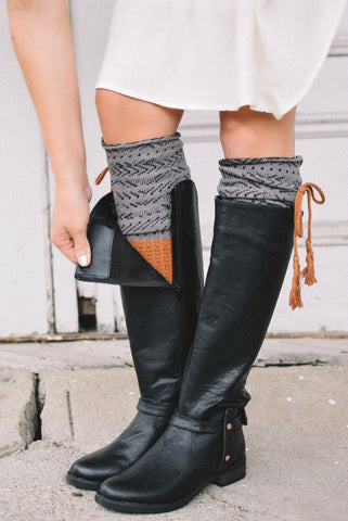 Estes Park Rust & Charcoal Knee-High Boot Socks with Tassel