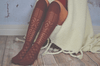 Rust Thigh High Patterned Boot Socks
