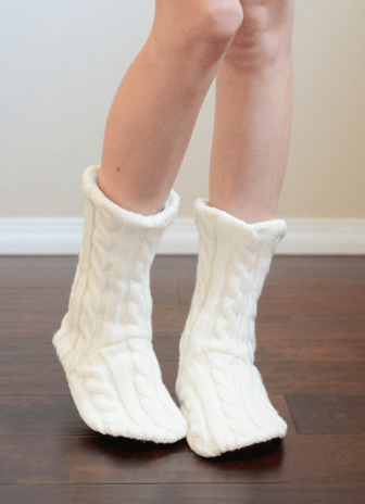 Cream Cable Knit Lounge Socks