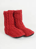 Red Cable Knit Lounge Socks
