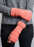 Coral Ribbed Knit Arm Warmers