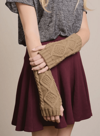 Mocha Diamond Cable Knit Arm Warmers