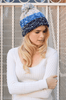 Blue Speckled Multicolor Pom Beanie