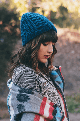 Teal Braided Marled Beanie