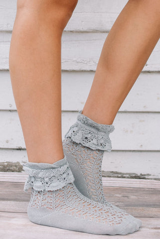 Slate Ruffle Lace Anklet Sock