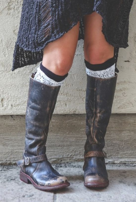 Black Two-Layer Reversible Lace Boot Cuffs (*NEW*)