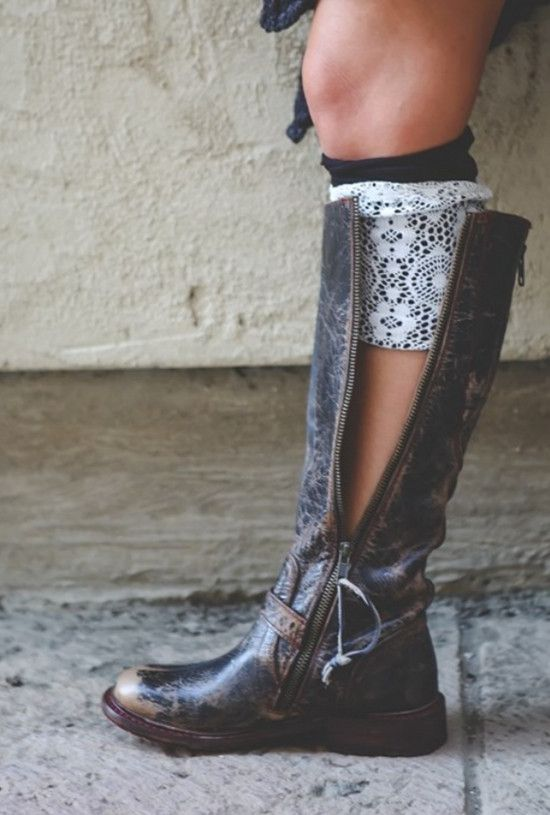 Black Two-Layer Reversible Lace Boot Cuffs