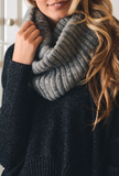 Grey Ribbed Knit Infinity Scarf
