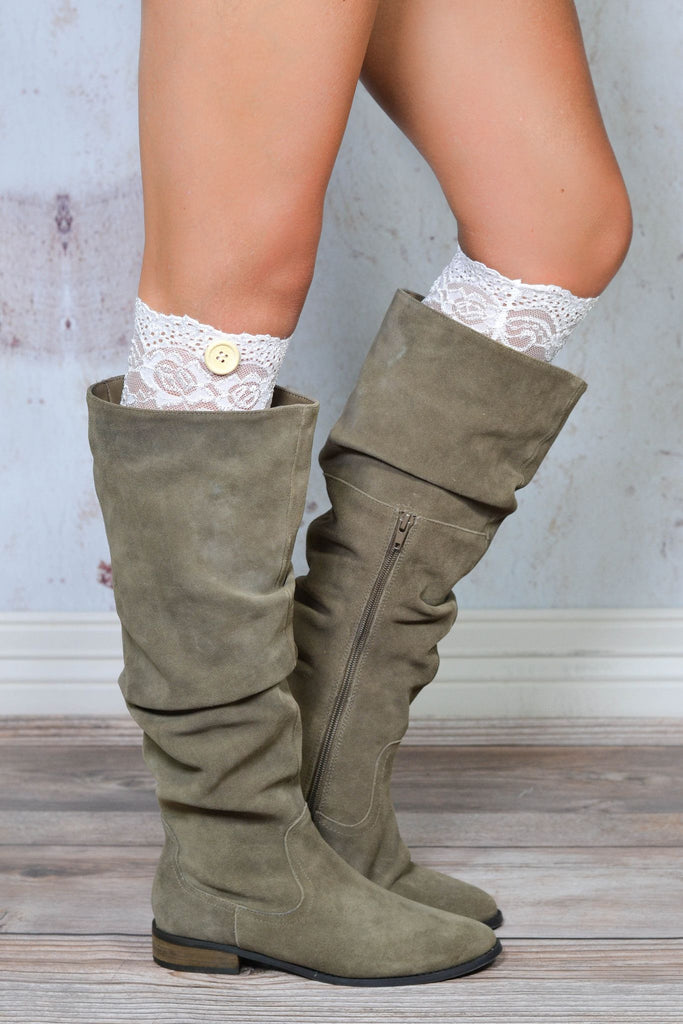 White One Button Lace Boot Cuff