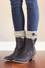 Alpine Peppered Light Grey Button Boot Cuffs