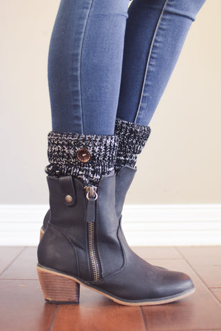 Alpine Peppered Black Button Boot Cuffs
