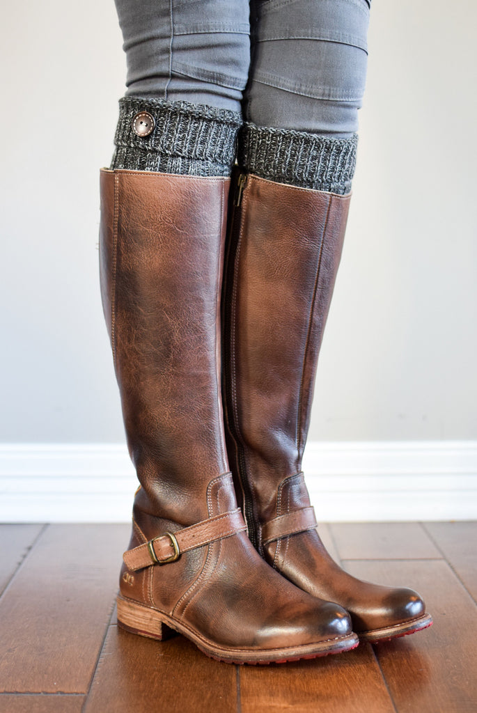 Alpine Peppered Charcoal Button Boot Cuffs