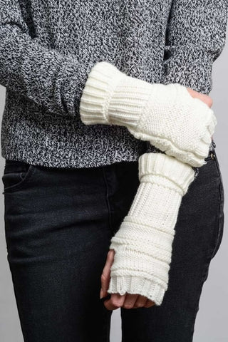 Ivory Ribbed Knit Arm Warmers
