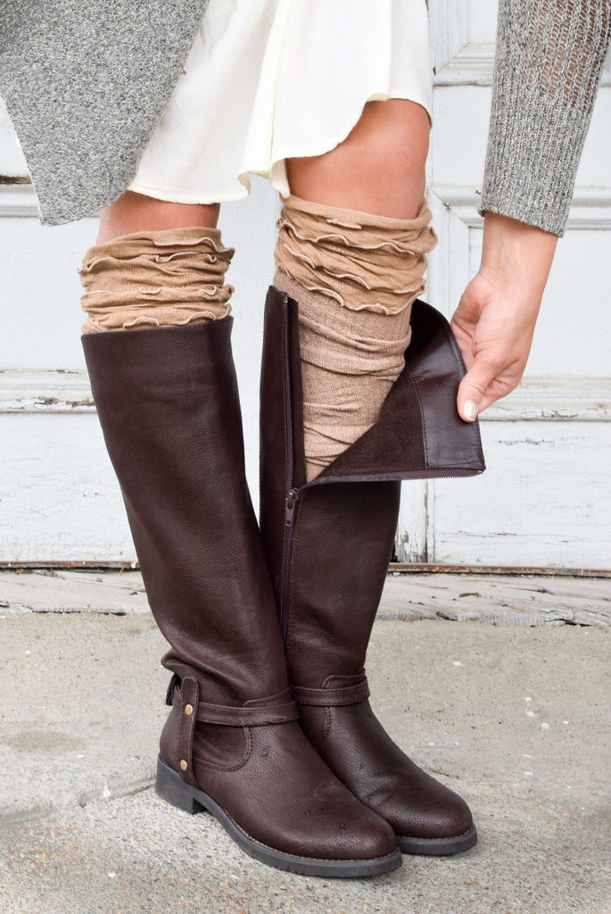 Camel Ruffled Knee High Boot Cuff Socks (*NEW*)