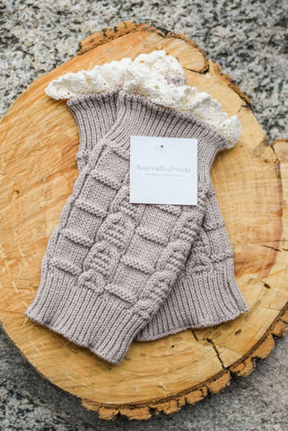Kids Beige Knitted Leg Warmers With Lace Trim
