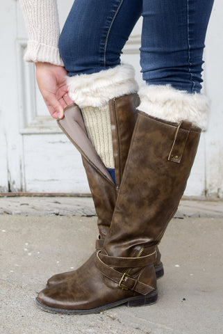Alaska-Inspired Beige Boot Cuffs with Fur Toppers  **NEW**