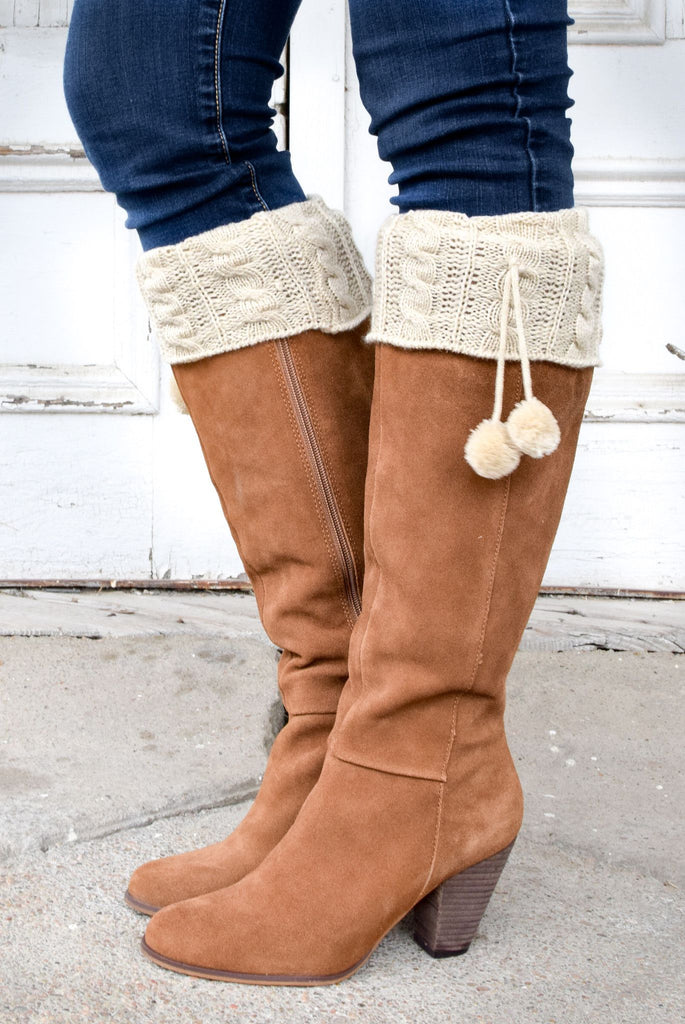 Pikes Peak Beige Boot Cuffs with Pom Poms