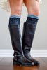 Blue & Black Lace Layered Boot Cuffs