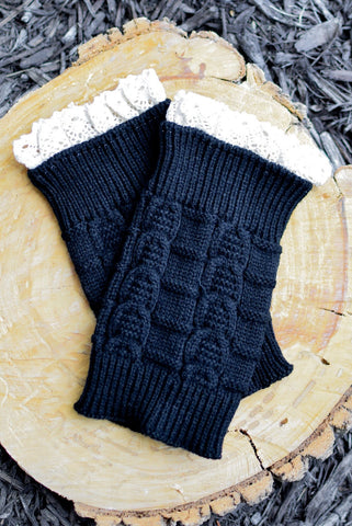 Kids Black Knitted Leg Warmers with Lace Trim