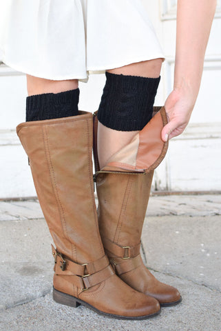 Black Cable Knit Boot Cuffs